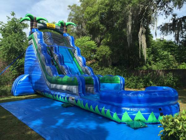 22ft Tropical Blue Crush Waterslide Bouncing Beez